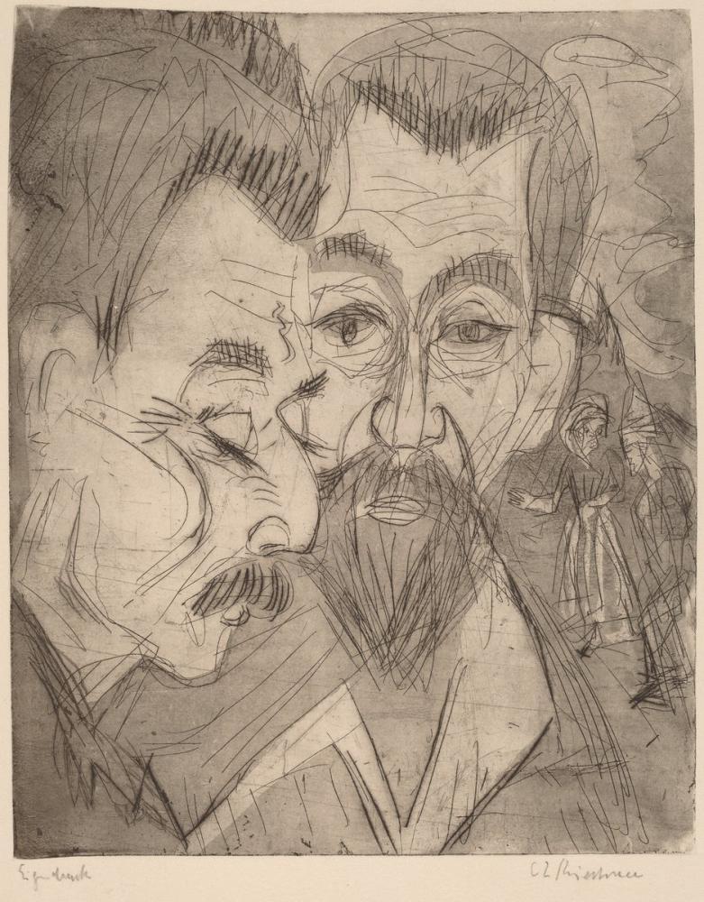 Ernst Ludwig Kirchner, İki Köylü Başları, Figür, Ernst Ludwig Kirchner, kanvas tablo, canvas print sales