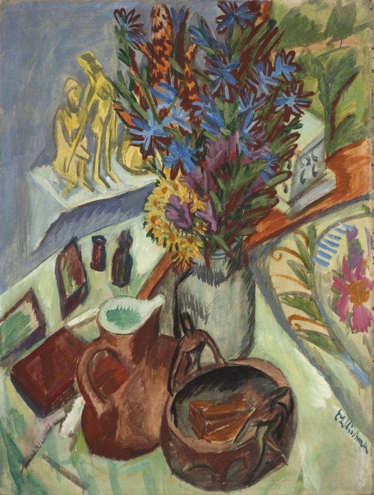Ernst Ludwig Kirchner, Sürahi ve Afrika Kase ile Natürmort, Figür, Ernst Ludwig Kirchner, kanvas tablo, canvas print sales