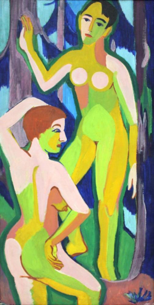 Ernst Ludwig Kirchner, Ormanda İki Çıplak II, Figür, Ernst Ludwig Kirchner, kanvas tablo, canvas print sales
