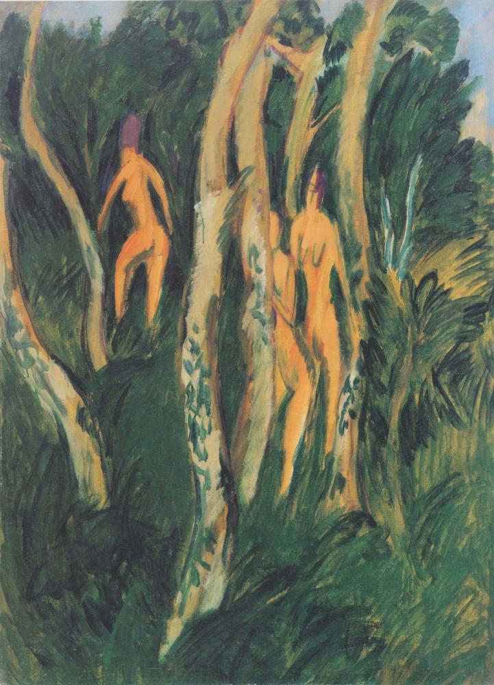 Ernst Ludwig Kirchner, Drei Akte Unter Bäumen, Figure, Ernst Ludwig Kirchner, kanvas tablo, canvas print sales