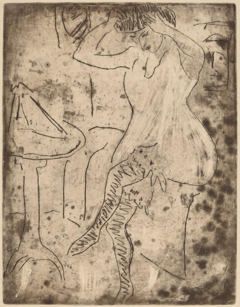 Ernst Ludwig Kirchner, Dodo Saçlarını Düzenliyor, Figür, Ernst Ludwig Kirchner, kanvas tablo, canvas print sales