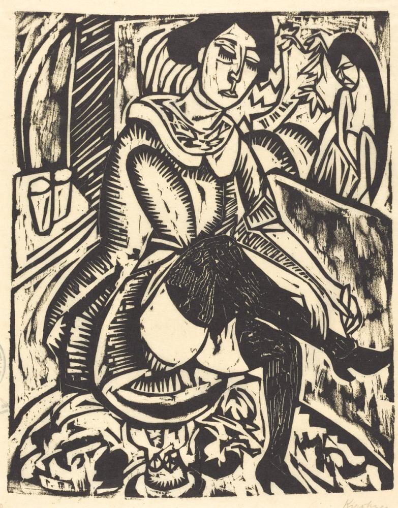 Ernst Ludwig Kirchner, Ayakkabısını Bağlayan Kadın, Figür, Ernst Ludwig Kirchner, kanvas tablo, canvas print sales