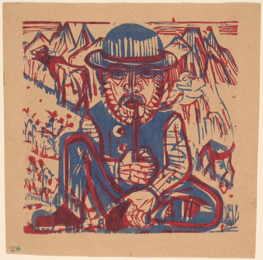 Ernst Ludwig Kirchner, Sigara Köylüsü, Figür, Ernst Ludwig Kirchner, kanvas tablo, canvas print sales