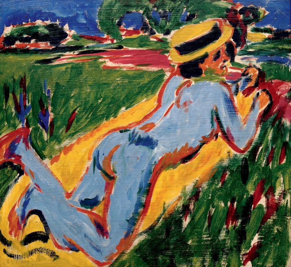 Ernst Ludwig Kirchner, Yatan Hasır Şapkalı Mavi Çıplak, Figür, Ernst Ludwig Kirchner, kanvas tablo, canvas print sales