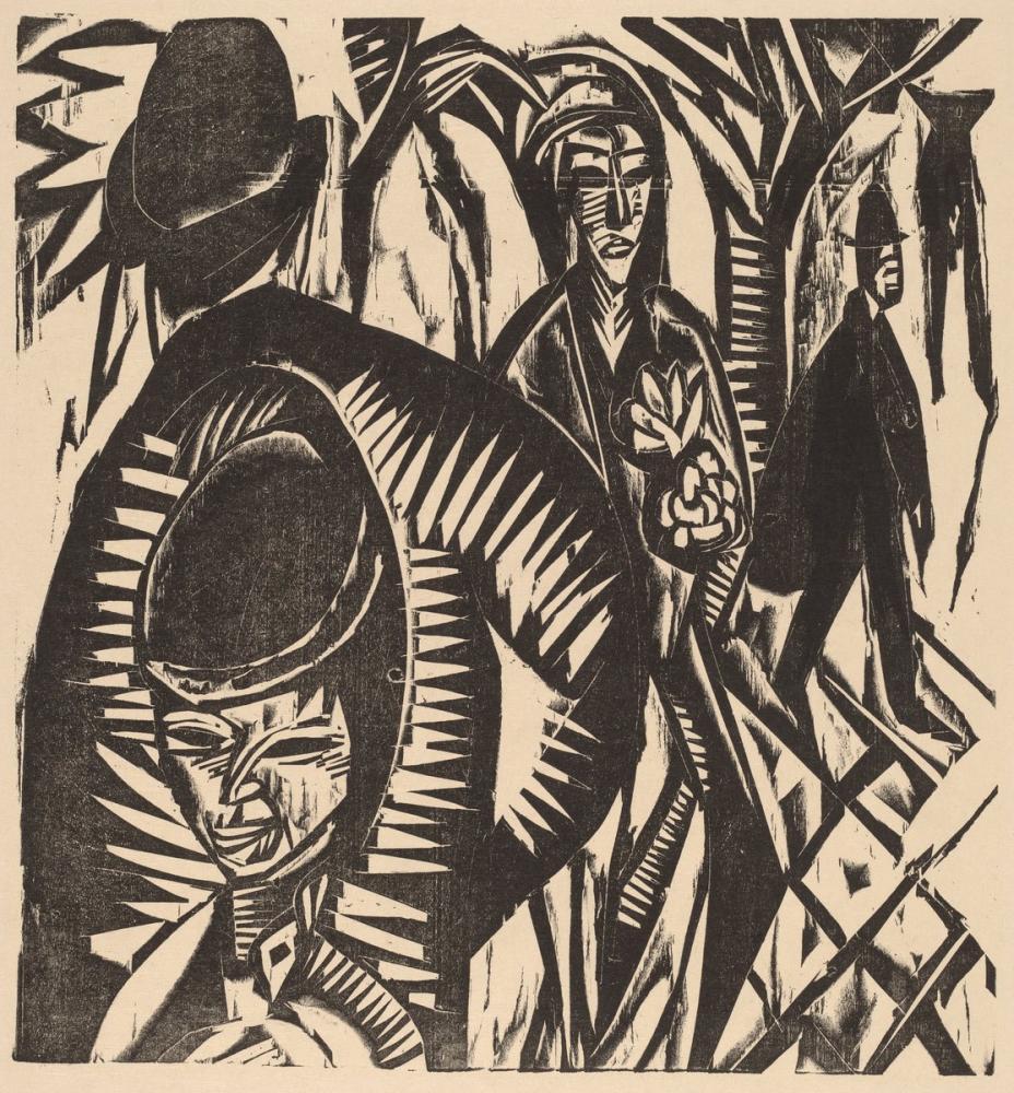 Ernst Ludwig Kirchner, Street Scene After the Rain, Figure, Ernst Ludwig Kirchner, kanvas tablo, canvas print sales