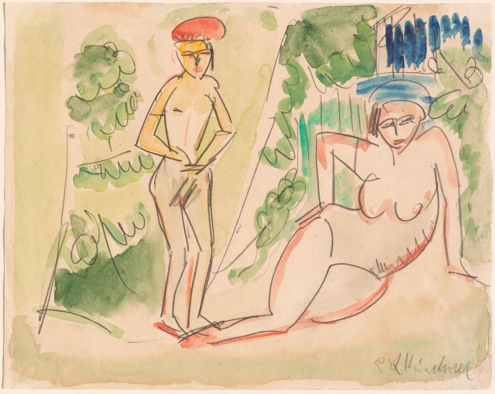 Ernst Ludwig Kirchner, Ormanda İki Yıkanan, Figür, Ernst Ludwig Kirchner, kanvas tablo, canvas print sales
