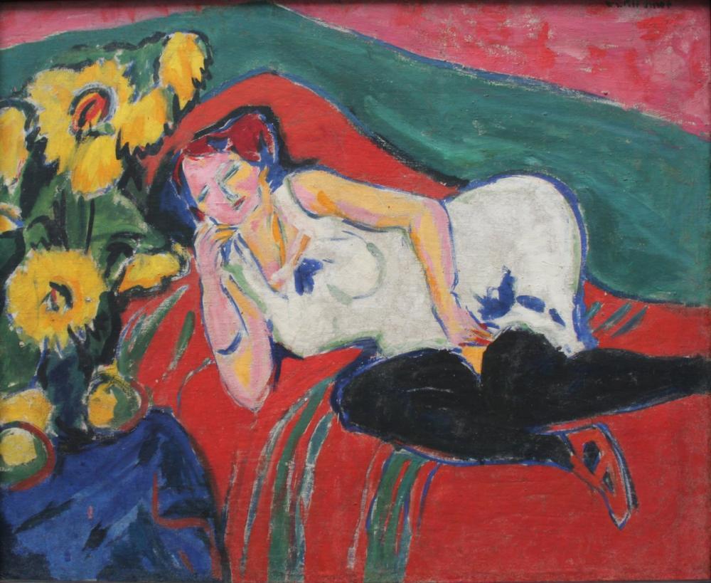 Ernst Ludwig Kirchner, Beyaz Gömlekli İstirahatte Kadın, Figür, Ernst Ludwig Kirchner, kanvas tablo, canvas print sales