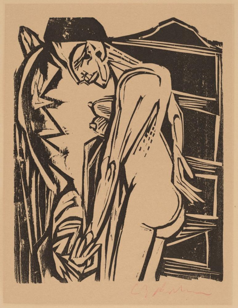 Ernst Ludwig Kirchner, Bir Dolap Önünde Kadın Çıplak, Figür, Ernst Ludwig Kirchner, kanvas tablo, canvas print sales