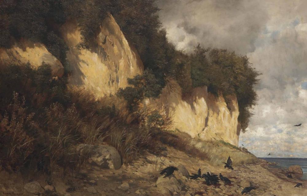 Eugen Bracht Kıyıda Bir Kuzgun Kolonisi, Kanvas Tablo, Eugen Bracht, kanvas tablo, canvas print sales