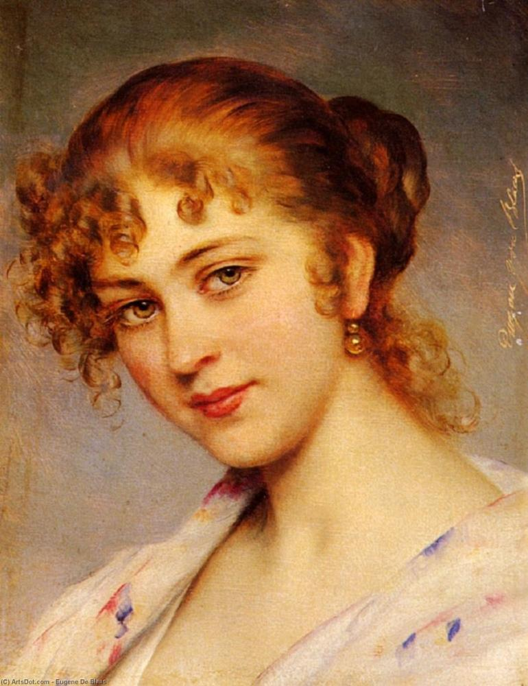 Eugene de Blaas A Portrait Of A Young Lady, Canvas, Eugene de Blaas, kanvas tablo, canvas print sales