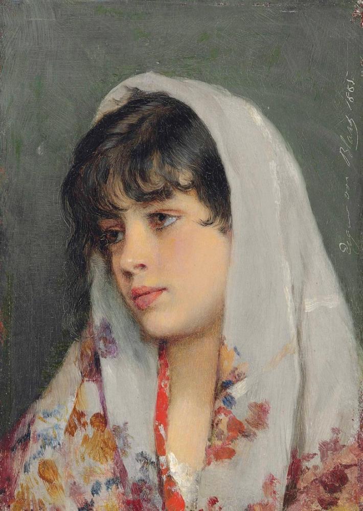 Eugene de Blaas Venedikli Bir Güzellik, Kanvas Tablo, Eugene de Blaas, kanvas tablo, canvas print sales