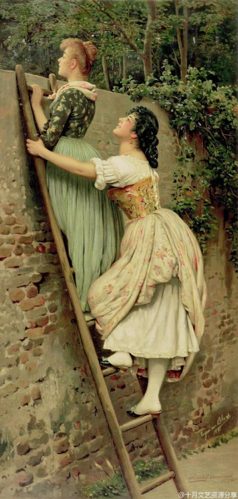 Eugene de Blaas Curiosity, Canvas, Eugene de Blaas, kanvas tablo, canvas print sales