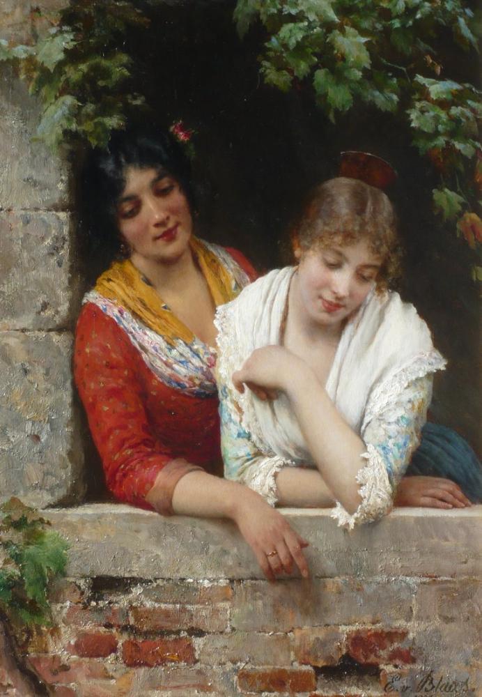 Eugene de Blaas Daydreamers, Canvas, Eugene de Blaas, kanvas tablo, canvas print sales