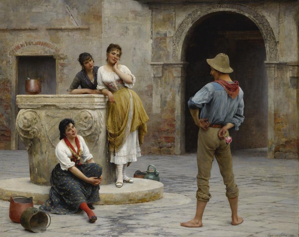 Eugene de Blaas Flört, Kanvas Tablo, Eugene de Blaas, kanvas tablo, canvas print sales