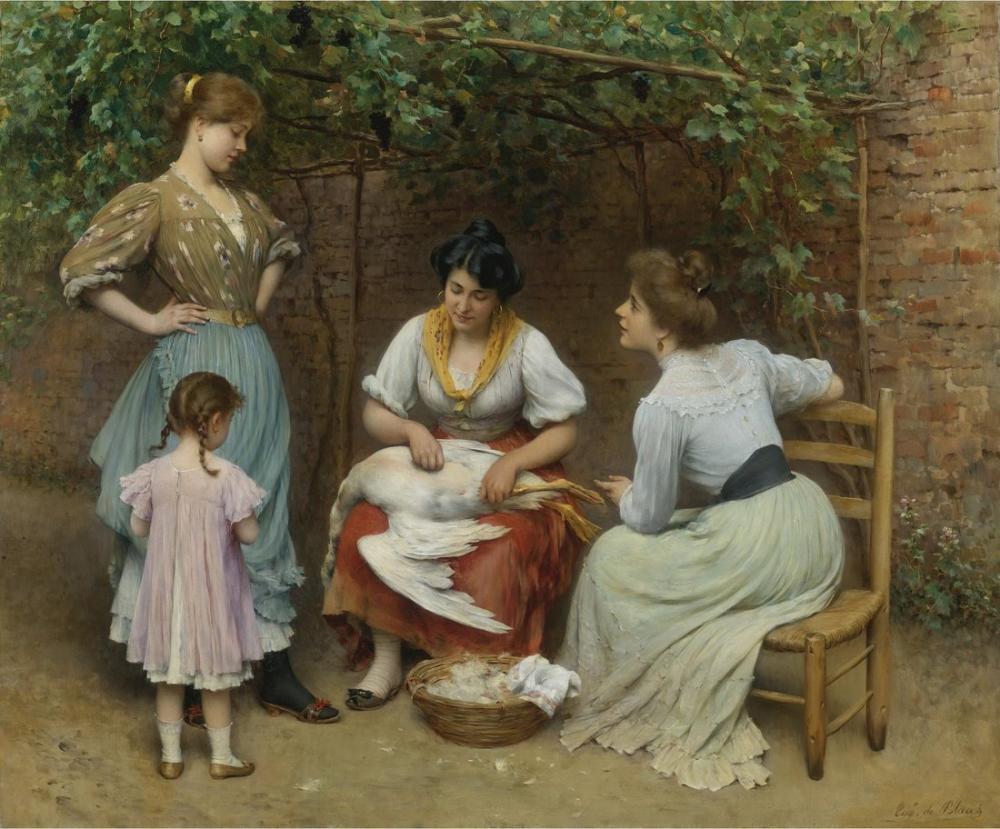 Eugene de Blaas Goose Plucking, Canvas, Eugene de Blaas, kanvas tablo, canvas print sales