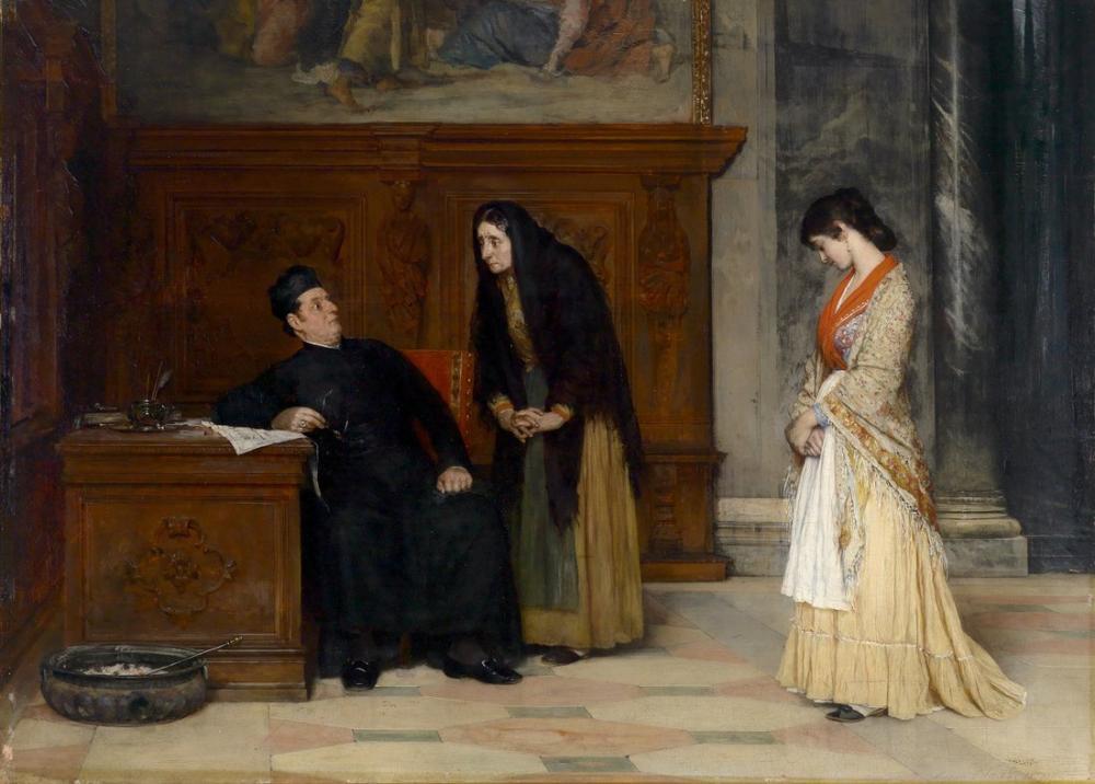 Eugene de Blaas In Der Sakristei, Canvas, Eugene de Blaas