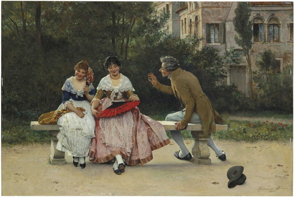 Eugene de Blaas In The Park, Canvas, Eugene de Blaas