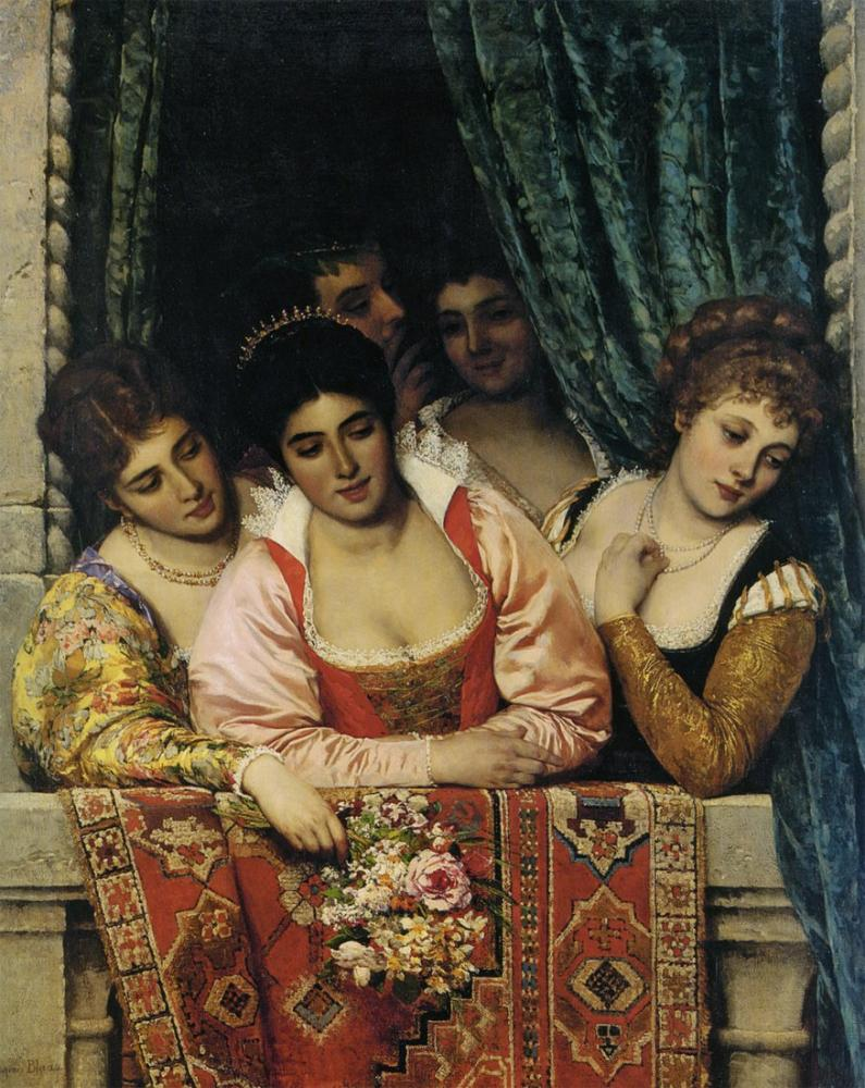 Eugene de Blaas Ladies On A Balcony, Canvas, Eugene de Blaas, kanvas tablo, canvas print sales