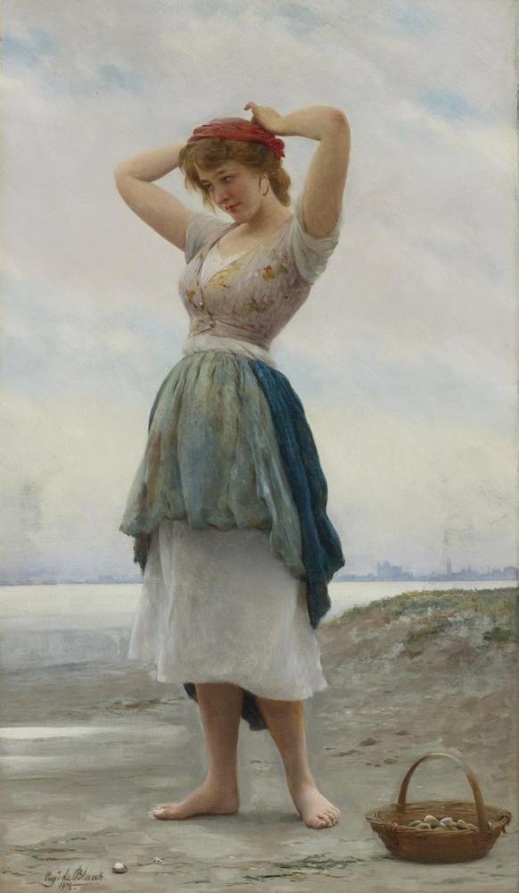 Eugene de Blaas On The Beach, Canvas, Eugene de Blaas, kanvas tablo, canvas print sales