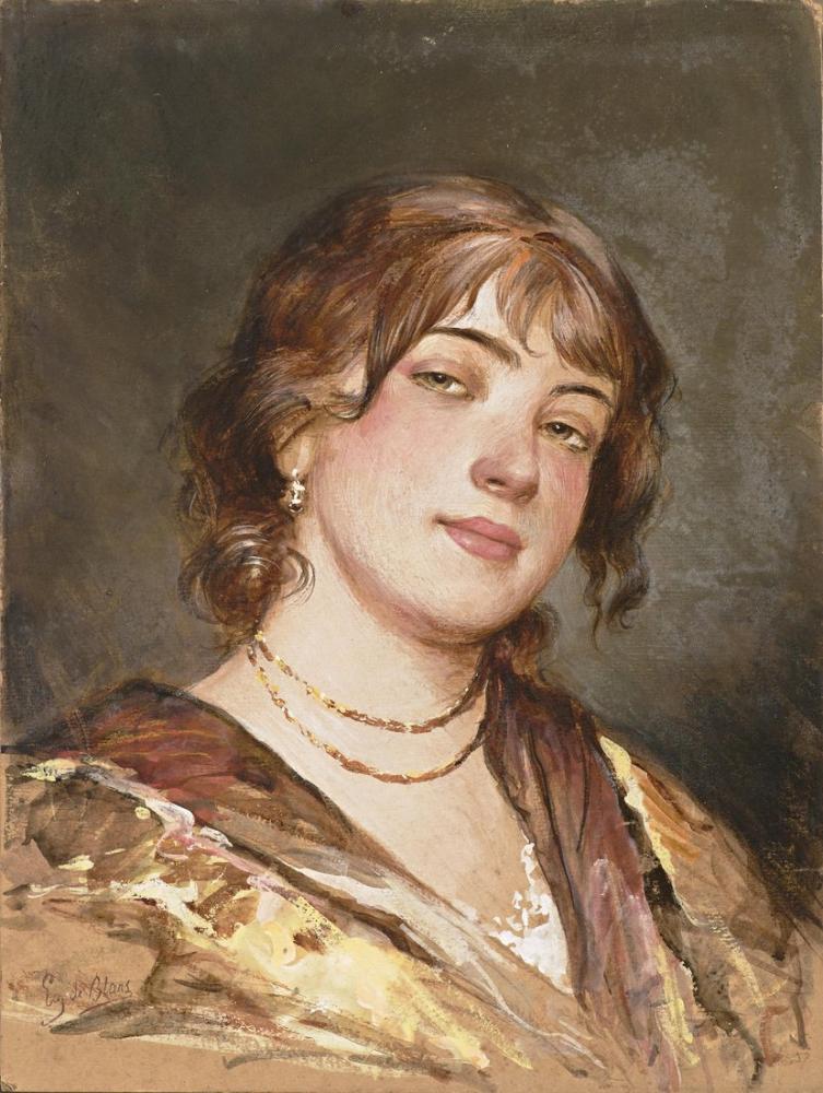 Eugene de Blaas Portrait Of A Young Italian Woman, Canvas, Eugene de Blaas, kanvas tablo, canvas print sales