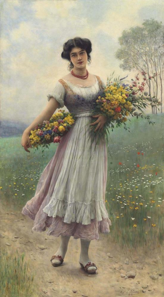 Eugene de Blaas Çiçek Toplayan Bir Kız, Kanvas Tablo, Eugene de Blaas, kanvas tablo, canvas print sales