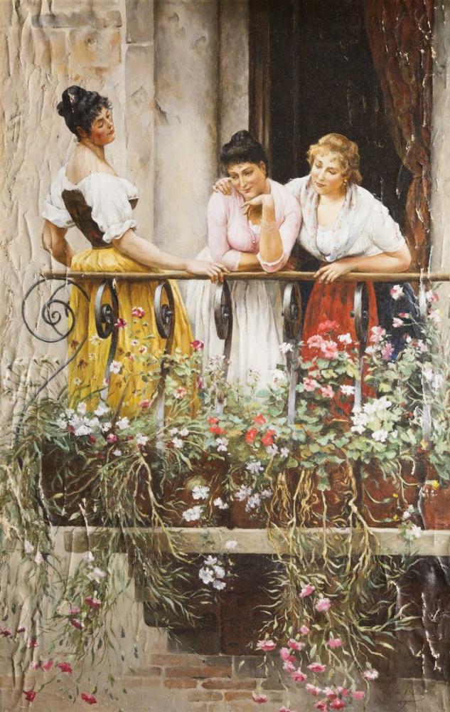 Eugene de Blaas The Balcony, Canvas, Eugene de Blaas, kanvas tablo, canvas print sales