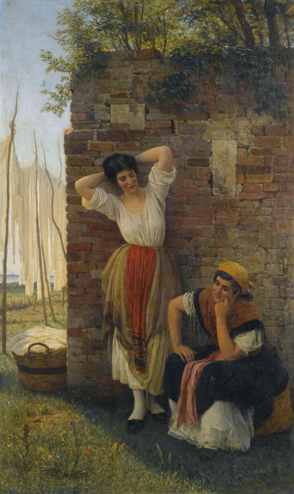 Eugene de Blaas Dinlenme Anı, Kanvas Tablo, Eugene de Blaas, kanvas tablo, canvas print sales