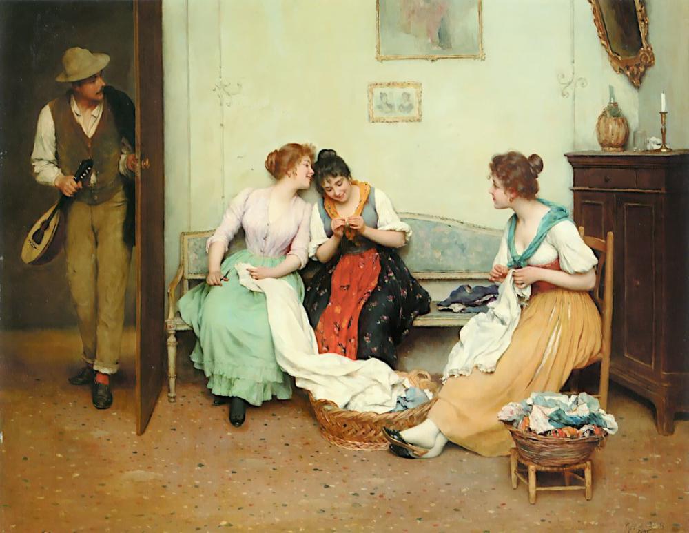 Eugene de Blaas The Friendly Gossips, Canvas, Eugene de Blaas, kanvas tablo, canvas print sales