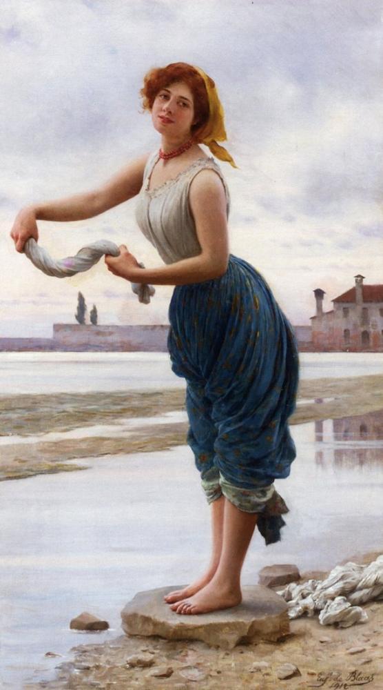 Eugene de Blaas The Lavender, Canvas, Eugene de Blaas, kanvas tablo, canvas print sales