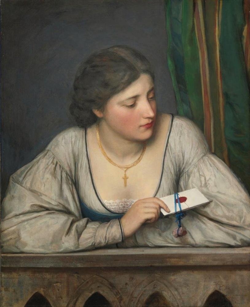 Eugene de Blaas Aşk Mektubu II, Kanvas Tablo, Eugene de Blaas, kanvas tablo, canvas print sales
