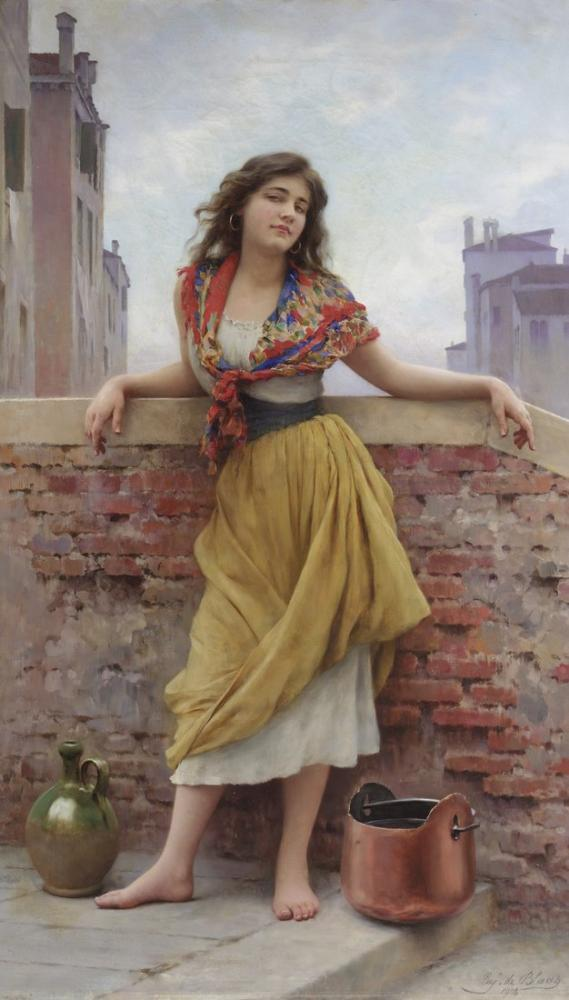Eugene de Blaas The Water Carrier, Canvas, Eugene de Blaas, kanvas tablo, canvas print sales