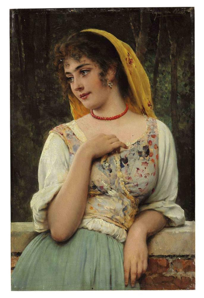Eugene de Blaas A Pensive Beauty, Canvas, Eugene de Blaas, kanvas tablo, canvas print sales
