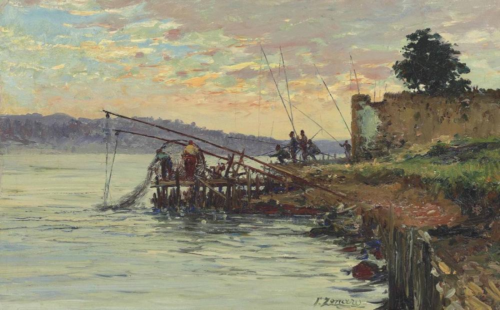 Fausto Zonaro Fishermen By The Bosphorus Scutari, Canvas, Fausto Zonaro, kanvas tablo, canvas print sales