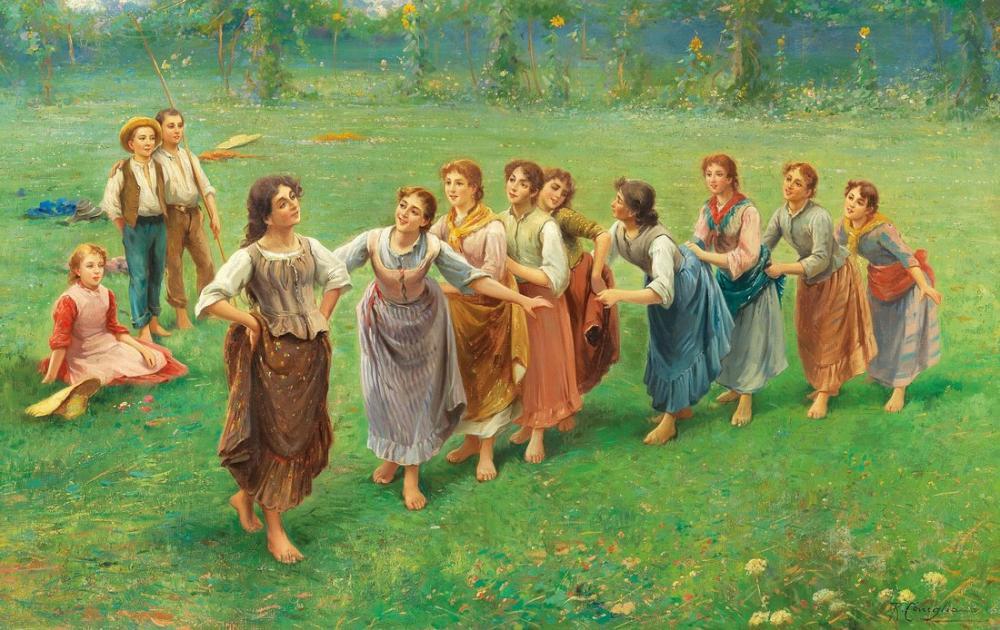 Fausto Zonaro Kızlar Bir Oyun Oynuyor, Kanvas Tablo, Fausto Zonaro, kanvas tablo, canvas print sales