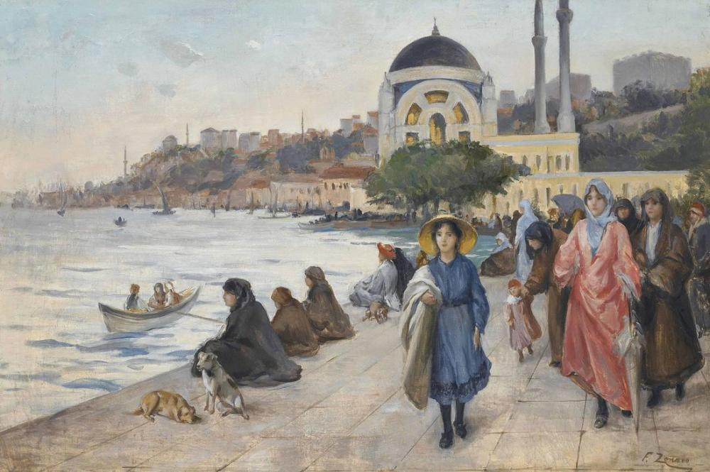 Fausto Zonaro Mafalda On The Banks Of The Bosphorus The Dolmabahce Mosque, Canvas, Fausto Zonaro, kanvas tablo, canvas print sales