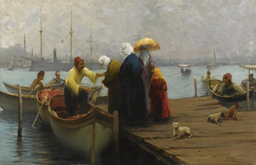 Fausto Zonaro Tekne İle Yolculuk, Kanvas Tablo, Fausto Zonaro, kanvas tablo, canvas print sales