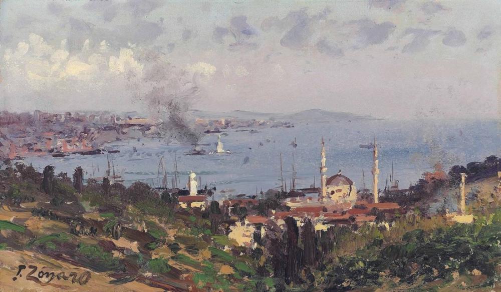 Fausto Zonaro View Of Nisantasi With The Dolmabahce Mosque Constantinople, Canvas, Fausto Zonaro, kanvas tablo, canvas print sales