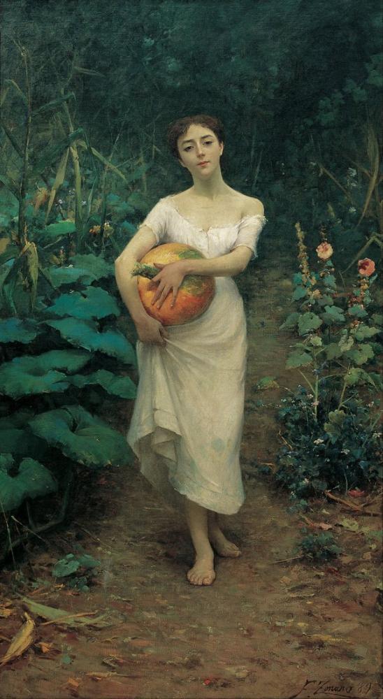 Fausto Zonaro Young Girl Carrying A Pumpkin, Canvas, Fausto Zonaro, kanvas tablo, canvas print sales