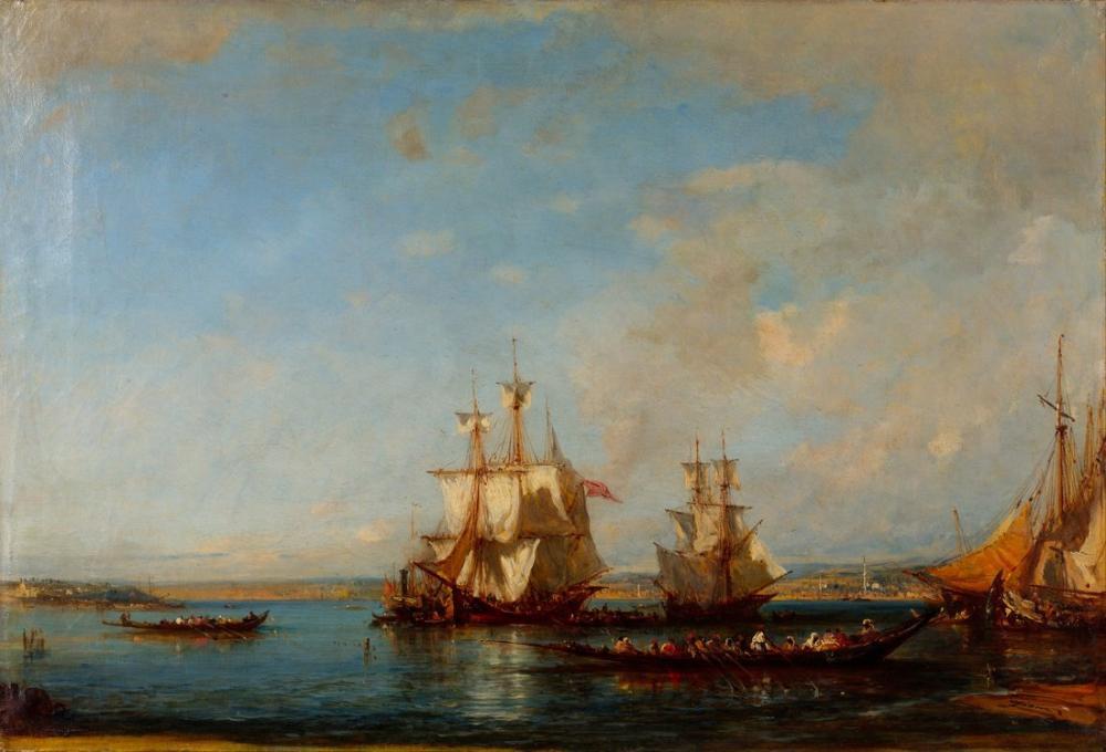 Félix Ziem Caiques And Sailboats At The Bosphorus, Orientalism, Félix Ziem