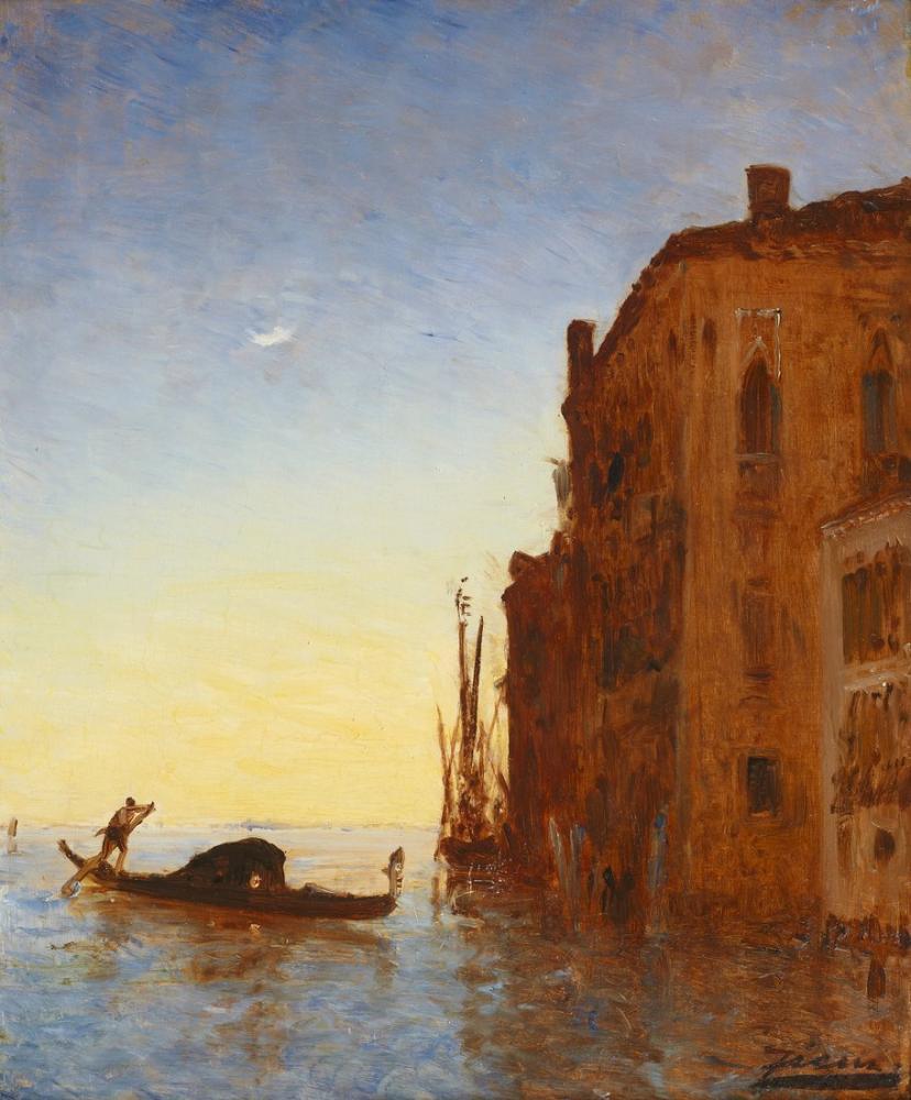 Felix Ziem Venedik Lagününde Gondol, Kanvas Tablo, Félix Ziem, kanvas tablo, canvas print sales