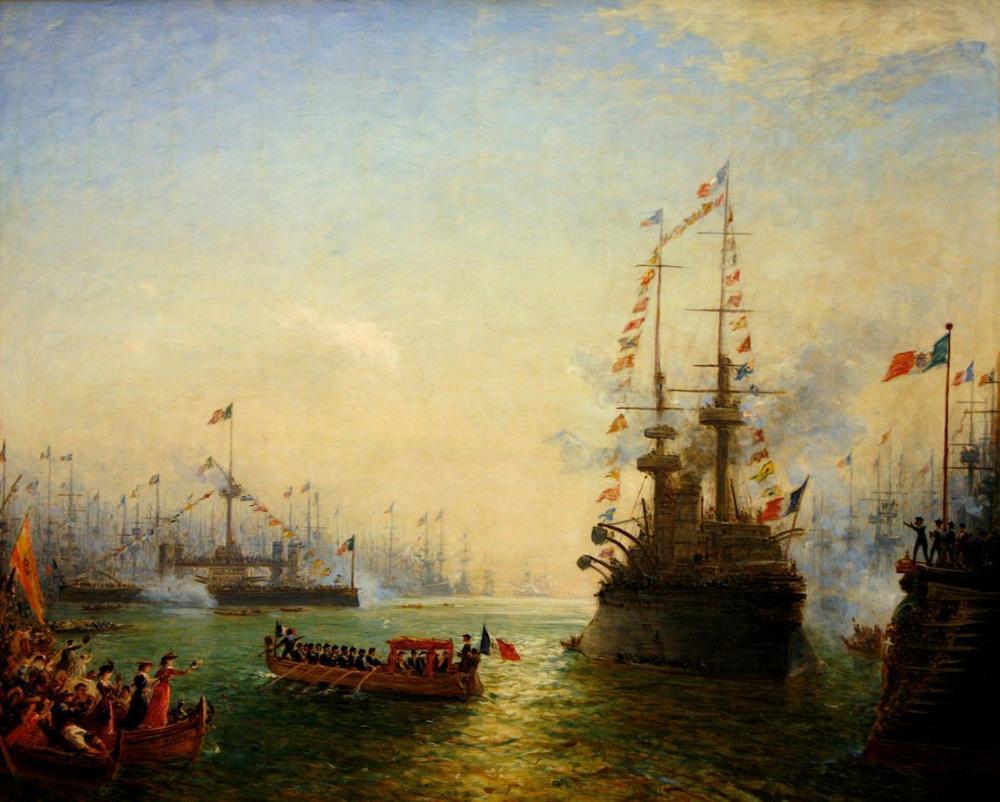 Félix Ziem Toulon Fransız İtalyan Filolarını Ziyaret Etmek İçin Loubet Ziyaret Etti, Kanvas Tablo, Félix Ziem, kanvas tablo, canvas print sales