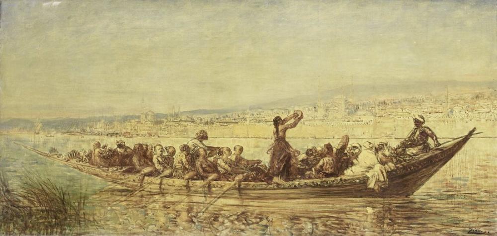 Félix Ziem Konstantinopolis Mağribi kuleleri, Oryantalizm, Félix Ziem, kanvas tablo, canvas print sales