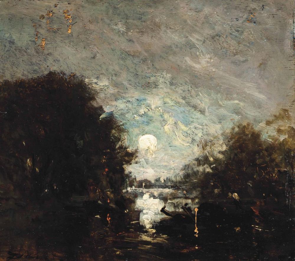 Félix Ziem Ay Işığında Bir Şair, Kanvas Tablo, Félix Ziem, kanvas tablo, canvas print sales