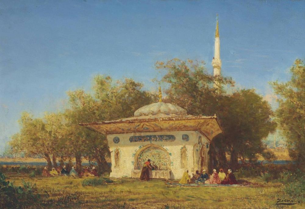 Félix Ziem La Fontaine Damurat Environs De Constantinople, Orientalism, Félix Ziem, kanvas tablo, canvas print sales