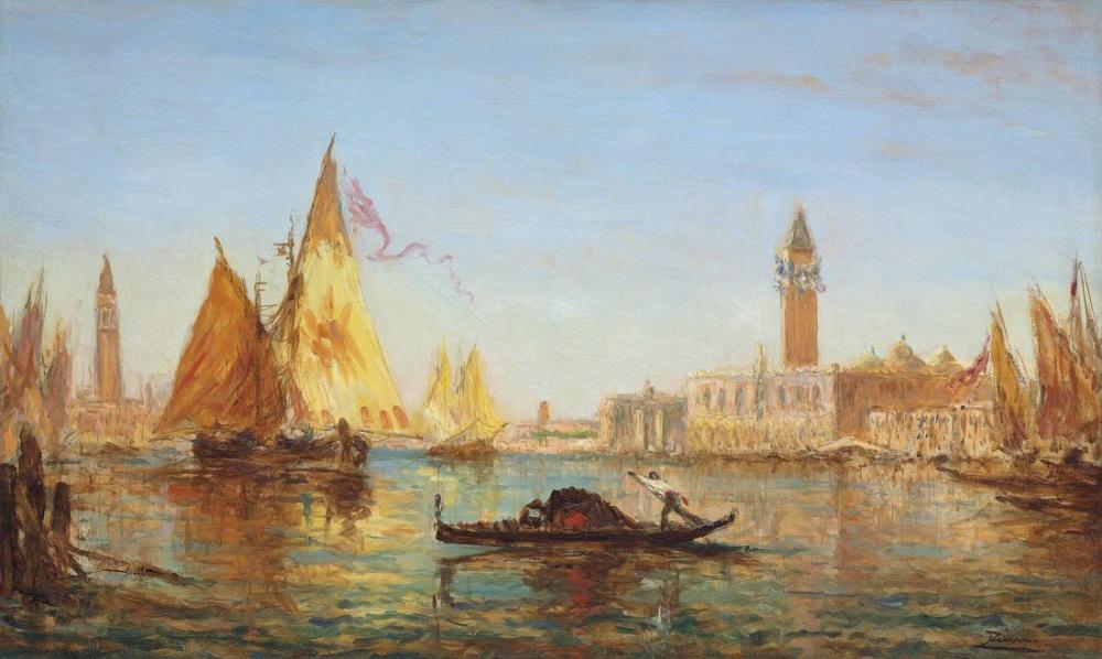 Félix Ziem Venedik Gondol Ve Büyük Kanal Üzerindeki Yelkenli, Kanvas Tablo, Félix Ziem, kanvas tablo, canvas print sales