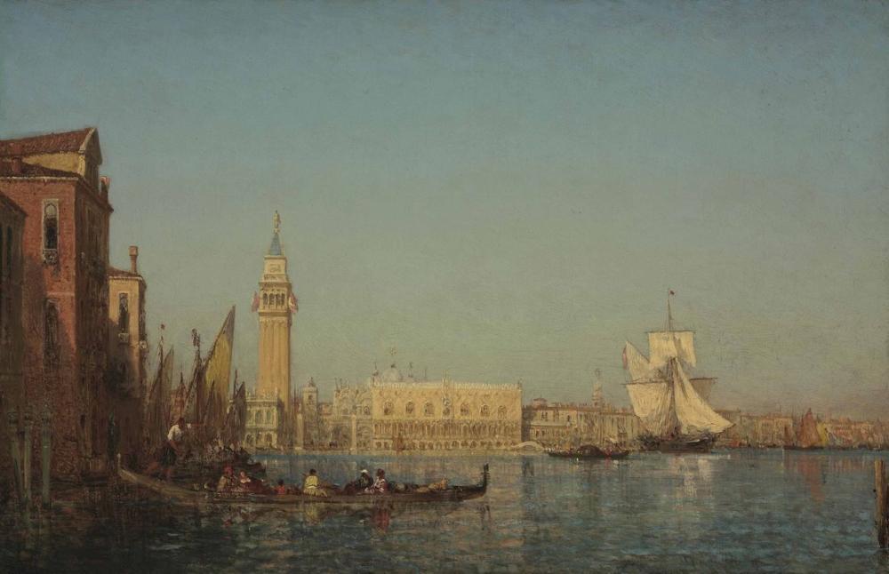 Félix Ziem Canal Della Grazia Venedik Görünümü Doge Sarayı, Oryantalizm, Félix Ziem, kanvas tablo, canvas print sales