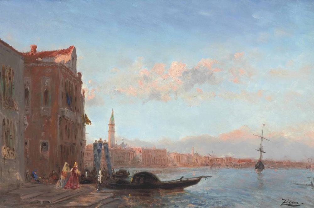 Félix Ziem Personnages Sortant Dun Palais Canal Della Grazia, Orientalism, Félix Ziem