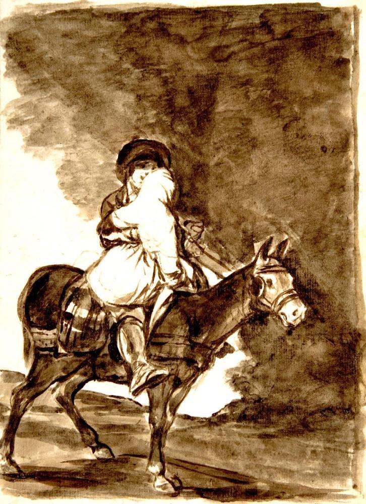 Francisco Goya, A Man And A Woman On A Mule, Canvas, Francisco Goya, kanvas tablo, canvas print sales