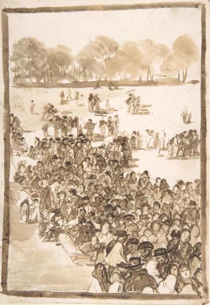 Francisco Goya, Crowd In A Park, Figure, Francisco Goya, kanvas tablo, canvas print sales