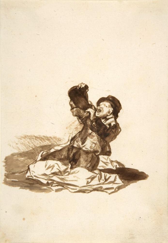 Francisco Goya, Şarap Derisinden İçen Bir Adam, Figür, Francisco Goya, kanvas tablo, canvas print sales